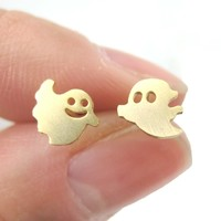 Adorable Ghost Shaped Stud Earrings in Gold | Allergy Free