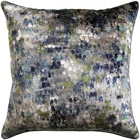 Painted Velvet Turquoise Pillow