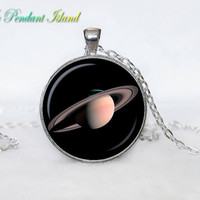 SATURN   Pendant  Saturn Necklace Galaxy necklace Space universe pendant  Necklace for him  Art Gifts for Her