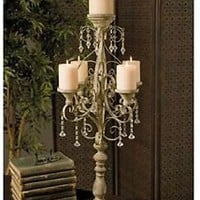 """ELEGANT 34"""" TALL VINTAGE-CHANDELIER-STYLE CANDELABRA  WITH JEWELLED DRAPING"""