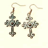 Cross earrings with burnished Turquoise