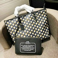 Coach Fashion New Love Heart Print Leather High Quality Shopping Leisure Shoulder Bag Women Handbag Two Piece Suit