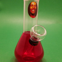 Red Bob Marley Glass Water Pipe