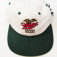 Vintage 1990s Miller Beer Green Bay Packer Snapback Hat