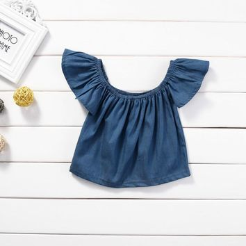 Kids Denim T-shirts For Girls Solid Lotus Short Sleeve O Neck T- shirt For Girl Casual Summer Crop Tops Children's T-Shirts 0-3T