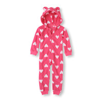 Long Sleeve/Full Length Hooded Heart One-Piece | The Children's Place