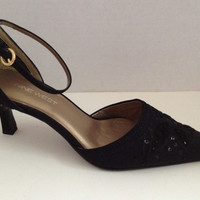 Nine West Shoes Womens Size 7.5 M Black Heels Ankle Strap Tricky 7 1/2