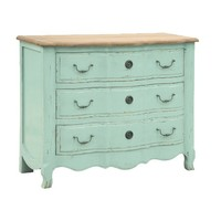 Etienne Turquoise 3 Drawer Chest | French Style Dining Sideboard | French Shabby Chic Living Room Furniture