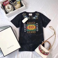 """Gucci"" Women Casual Fashion Flower Embroidery Logo Letter Pattern Print Short Sleeve T-shirt Tops Tee"