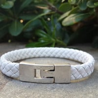White Braided Men's Leather Bracelet, Mens Bracelet, Mens Jewelry, Leather Bracelet, Secure silver plated clasp, Gift for him, Free shipping