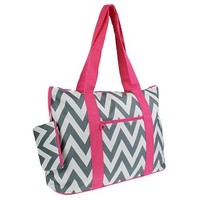 Large Roomy Canvas Tote Purse Beach Travel Bag w/ Attached Coin Purse (Chevron - Pink Trim Grey White)