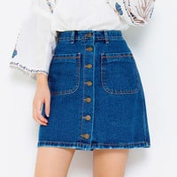 A-Line Button-Down Denim Skirt - I know you wanna kiss me. Thank you for visiting CHUU.