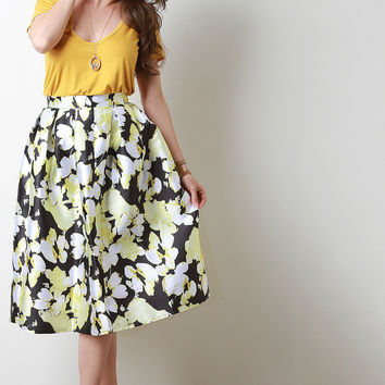Yellow Floral Box Pleated Skirt