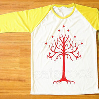 Red Tree T-Shirt Lord of The Rings T-Shirt Gondor Shirt Yellow Sleeve Tee Shirt Women Shirt Men Shirt Unisex Shirt Baseball Tee Shirt S,M,L