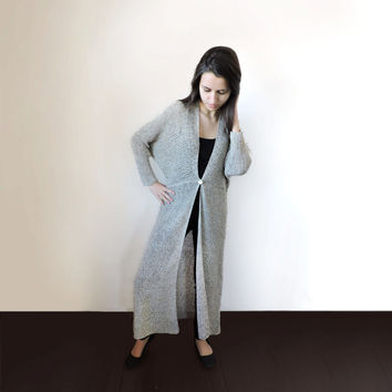 FREE SHIPPING Duster coat Long cardigan Extra long sweater Hippie loose long sweater Beige Light summer spring cardigan Womens knit cardigan