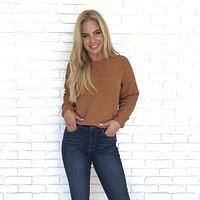 Coco Cable Knit Sweater In Rust
