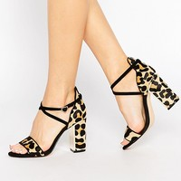 Dune Maybell Leopard Pony Heeled Sandals