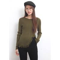 Fringing Trims Ribbed Knit Jumper
