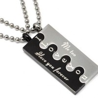 """Stainless Steel Couple """"I Love You Forever / Me Too"""" Lovers Puzzle Couple Necklace Set"""