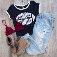 Sunday Funday Crop Top - Black