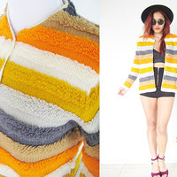 Vintage 60's 70's fuzzy shag stripe gray yellow orange cardigan jacket knit sweater