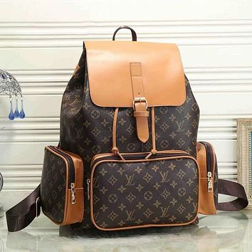 Louis Vuitton LV fashion men and women large-capacity stitching backpack travel bag