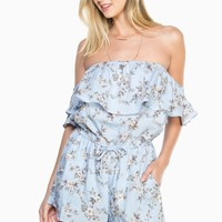 ShopSosie Style : Marlow Floral Romper in Blue