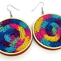Knitted earrings colorful summer jewelry statement different size