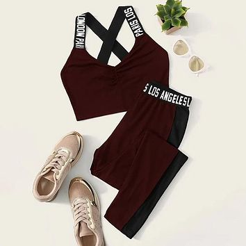Letter Tape Crisscross Tank Top & Side Seam Leggings Set