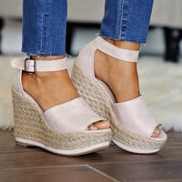 *  Sunshine Wedge Sandal: Pale Blush