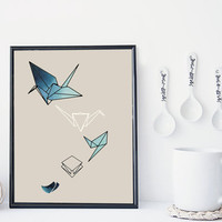 Zen origami art print, nursery decor, watercolor geometric print, minimal simple home decor, scandinavian decor, origami illustration, gift
