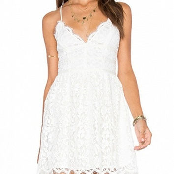 White Spaghetti Strap Scallop Trim Lace Mini Dress