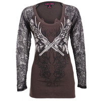 Rock & Roll Cowgirl Women's Pistol and Lace Shirt