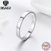BISAER Genuine 925 Sterling Silver Simple Minimalist Engagement Finger Rings for Female Wedding Band Sterling Silver Ring GXR343