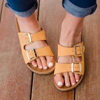 Boho Tan Slip On Sandal