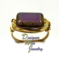 DWJ0274 Lovely Czech Glass Amethyst Picasso Gold Wire Wrap Ring All Sizes