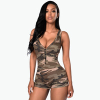 Women Jumpsuit 2016 Sexy Romper Army Camouflage Bodysuit Bodycon Deep V Neck Short Pant Sleeveless Suit Feminino Playsuits