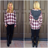 Check On It Hooded Flannel Plaid Top - IVORY & RED