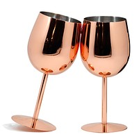 Set of 2 Popular Rose Gold Stainless Steel WineGlass Goblets