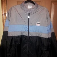 Rare Vintage 80's Adidas Vent Lined Zip Up Track Jacket Windbreaker with Zip Out Hood and Color Block Stripes Men's Large