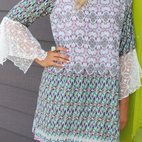 Annalise Purple & Green Print Lace Bell Sleeve Peasant Dress