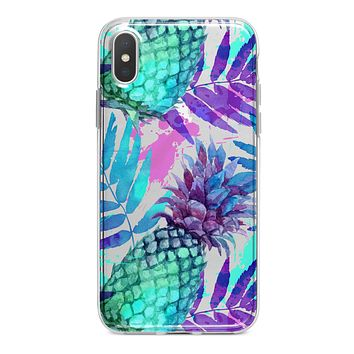 Tropical Summer Pineapple v1 - Crystal Clear Hard Case for the iPhone XS MAX, XS & More (ALL AVAILABLE)