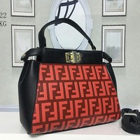 Fendi Women Fashion Leather Satchel Tote Shoulder Bag Handbag