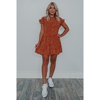 Pick Of The Patch Dress: Rust/Beige