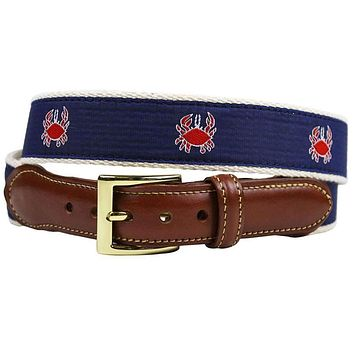 Feeling Crabby Leather Tab Belt in Navy on White Canvas by Country Club Prep
