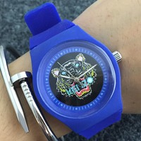 Kenzo Stylish Ladies Men Adhesive Tape Movement Watches Couple Wristwatch Blue I-Fushida-8899