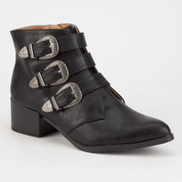 QUPID Western Buckle Womens Booties | Boots + Booties