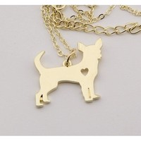 Heart Print Chihuahua Necklace