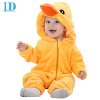 IDGIRL Hot  Baby Boy Clothes Cotton Flannel Quilted Jumpsuit Cartoon Animal Yellow Duck Baby Rompers Girl Baby Clothing MM0313