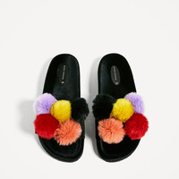 VELVET SANDALS WITH POMPOMS - View all-SHOES-WOMAN | ZARA United States